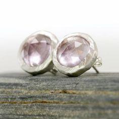 Pink Amethyst Starburst Stud Earrings