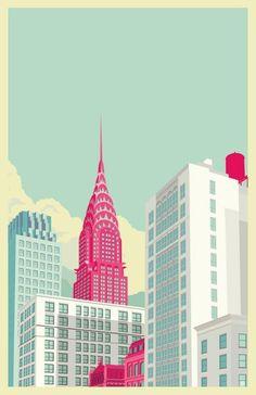 Remko Heemskerk :: Colorful New York City Illustrations - Chrysler building Art And Illustration, Building Illustration, Illustration Example, City Art, Poster Design, Design Art, Grid Design, Print Poster, Flat Design