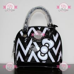 Bolsa CHICA De Mano Loungefly Negra/Blanco Hello Kitty