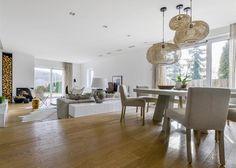 Prefab Homes, Home Living Room, Beams, Minimalism, Dining Table, House Design, Lights, Inspiration, Furniture