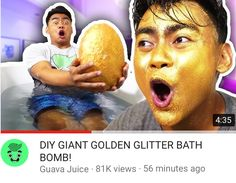 New video from Guava Juice! Go check it out on youtube. DIY GIANT GOLDEN GLITTER BATH BOMB!