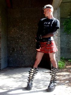 "The Mini Kilt / Skirt looks fine but the boots? Appears to be making a statement ""look at me"". not the intention of this site. Fetish Fashion, Punk Fashion, Queer Fashion, Androgynous Fashion, Androgyny, Androgynous Models, Guys In Skirts, Man Skirt, Kilt Skirt"