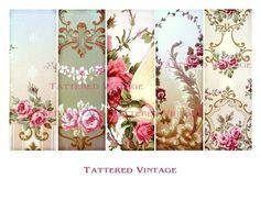 tattered vintage | ... Bookmarks Antique Wallpaper Collage Sheet Tattered Vintage 141