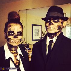Skeleton Couple - 2013 Halloween Costume Contest // bad ass! I need to work on my makeup skills. Maybe I can talk Tyler into doing this with me...