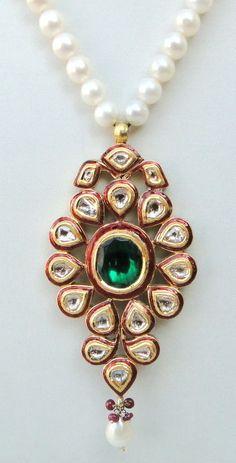 VINTAGE ANTIQUE 20 CARAT GOLD DIAMOND ENAMEL WORK PENDANT NECKLACE AMULET INDIA