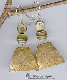 Antiqued Brass Earrings with African Bone and by SilverandEarth