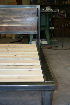 king size platform bed with black walnut in headboard