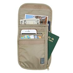 Jnjstella Travel Neck Pouch with RFID Blocking Passport Holder Wallet Beige * Want additional info? Click on the image. Note:It is Affiliate Link to Amazon.