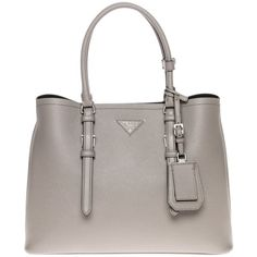 Pre-owned Prada Grey Tote Bag ($2,676) ❤ liked on Polyvore featuring bags, handbags, tote bags, grey, prada tote, leather handbags, prada purses, detachable key ring and gray leather tote