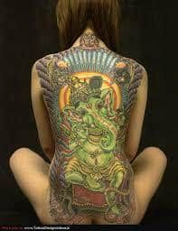 What does ganesha tattoo mean? We have ganesha tattoo ideas, designs, symbolism and we explain the meaning behind the tattoo. Ganesh Tattoo, Tatoo Henna, Sick Tattoo, Tatoo Art, Tattoo Life, Hindu Tattoos, Krishna Tattoo, Real Tattoo, Tattoo Girls