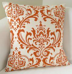 orange damask pillow cover