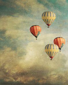 Vertical Large wall art 30x24 Hot Air Balloons