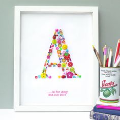 This Personalised Initial Girl Button Letter Artwork makes a sharp and very…