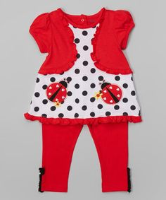Look what I found on #zulily! Red Ladybug Layered Tunic & Leggings - Infant by Buster Brown #zulilyfinds