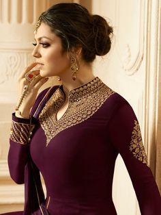 Designer dresses indian - Buy Drashti Dhami Wine color georgette wedding anarkali in UK, USA and Canada Kurti Neck Designs, Dress Neck Designs, Kurti Designs Party Wear, Pakistani Dress Design, Pakistani Outfits, Indian Outfits, Canada Winter, Indian Designer Suits, Indian Gowns