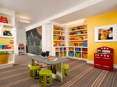 Think About Durability.. Since playrooms take a lot of abuse, choose finishes and furnishings that can be wiped down and easily maintained. Designer Melanie Grant of Poss Interior Design suggests chalkboard paint as a way to allow kids to be creative and messy, but at the end of the day can be easily cleaned up. She also loves to use indoor/outdoor fabrics because they feature great patterns and vibrant colors without sacrificing necessary durability