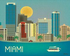 Miami, Florida Skyline - Horizontal Destination Print  Poster Gift  and  Wall Art for Homes, Work, and Nursery  - style E8-O-MIA