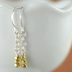 ON SALE Gold Vermail Nugget dangle  earrings