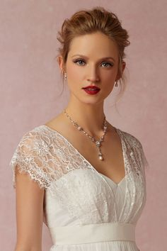 """A nice way to cover a strapless top (or even thin straps.) ribbon attached to lace """"sleeves"""". BHLDN Iris Topper in  Bride Bridal Cover Ups at BHLDN"""
