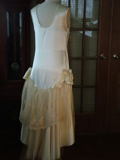 1920s Ivory Satin antique lace Wedding by RetroVintageWeddings, $725.00