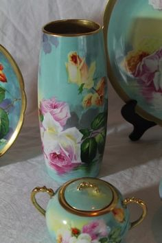 "OUTSTANDING French Limoges TEA ROSES Antique 8 Piece Service Set ~ All Artist Signed by the VERY FAMOUS Listed Artist ""DUVAL"" ~ Completely Handpainted Handmade Artistry CLASSICAL FRENCH STILL LIFE With ROSES"