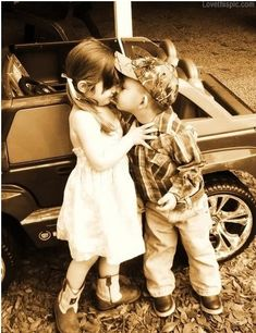Country kisses cute photography kiss outdoors kids country