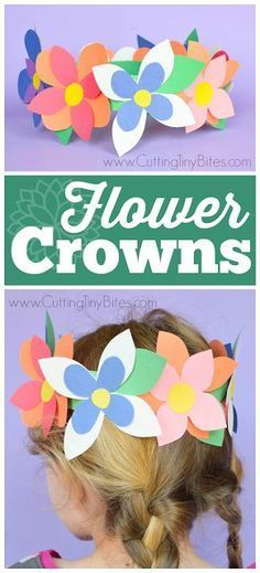 Flower Crowns- great easy spring craft for preschool, kindergarten, or elementary kids. Work on fine motor skills while making pretty flower crowns with just a few simple materials! for adults Flower Crown Spring Craft Spring Crafts For Kids, Crafts For Girls, Summer Crafts, Projects For Kids, Diy For Kids, Fun Crafts, Simple Kids Crafts, Children's Arts And Crafts, Spring Craft Preschool
