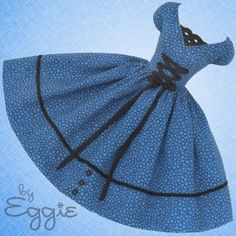 Bubbly Blue -Vintage Barbie Doll Dress Reproduction Repro Barbie Clothes