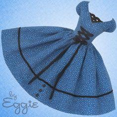 Bubbly Blue -Vintage Barbie Doll Dress Reproduction Repro Barbie Clothes