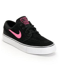 big sale cc4cb bbc87 Nike SB Stefan Janoski GS Black   Pink Foil Kids Skate Shoes   Zumiez