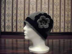 Teen Adult Size Hat Gray and Black Flower by MarlowsGiftCottage, $20.00