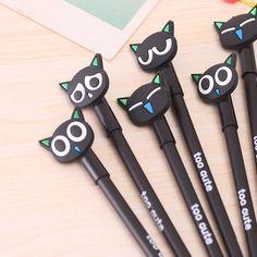 Cute Cat Kawaii Expressions Stationery Black 0.38mm Gel Pens Kids Gel Sign Pens #Unbranded