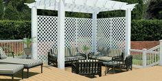 Pergolas On Decks with Railings white   Composite deck with white lattice pergola