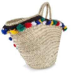 Muzungu Sisters Sicilian pompom straw tote (€335) ❤ liked on Polyvore featuring bags, handbags, tote bags, colorful totes, colorful tote bags, brown tote, brown handbags and straw tote bags