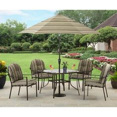 Garden oasis harrison 5 piece cushion dining set tan projects to try pinterest Garden oasis harrison 7 piece dining set