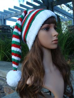 51f69613 DIY- Knitting PATTERN #62: Ho, Ho, Ho Red, White and Green Striped Santa Hat  Pattern, Knit Santa Hat Pattern, Teen/Adult - Digital Pattern