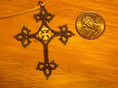 Button Cross - Needle Tatting - maybe a bead or different button.