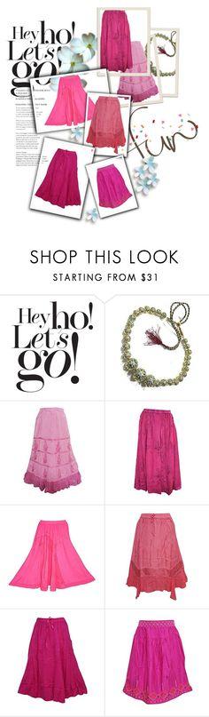 """Pink Skirt"" by tarini-tarini ❤ liked on Polyvore featuring Damaris"