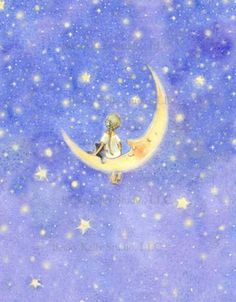 Fairy on the Moon, print, Periwinkle Sky, art, 8 X 10, room decor via Etsy