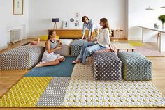 New Silai Range of puffes and rugs from GAN - New Silai Range from Gandia Blasco - http://www.cimmermann.uk/shop-by-product/pouffes-footstools/gan-silai-big-pouffe-blue.html