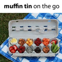 """Fill an egg carton with munchies - good idea but I would get one of the reusable egg """"cartons"""" that are made for camping.  I would NOT trust the cleanliness of our regular egg cartons."""