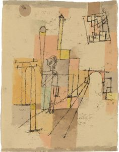 Paul Klee, Before the Festivity, 1920. Watercolor and oil transfer drawing on paper, mounted on cardboard, sheet: 12 1/4 x 9 3/8 inches (31.1 x 23.7 cm); mount: 14 3/4 x 12 7/8 inches (37.6 x 32.8 cm)