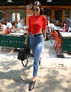 Never off-duty: Kendall was seen strutting around New York City on Wednesday...