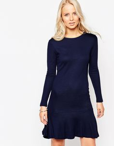 French Connection Long Sleeve Drop Peplum Dress