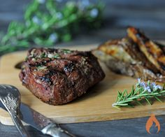 Grill up a decadent Kansas City Steak Garlic Rosemary Filet Mignon, and your guests will feel like they're eating at a fine steakhouse.6 servings4 tablespoons salted butter, room temperature 1 tablespoon fresh rosemary, chopped 2 cloves garlic, minced 1 tablespoon kosher salt 2 teaspoons fresh cracked black pepper 2 teaspoons garlic powder 6 6-ounce Kansas City Steak Company ®