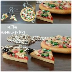"Decoration - miniature cooking ""Pizza"" earrings and a pendant made of polymer clay. Handmade. Украшение - кулинарная миниатюра ""Пицца"" сережки и кулон из полимерной глины. Ручная работа."