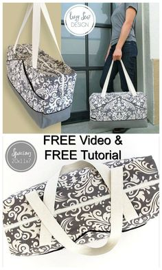 With Sew Modern Bags you get another FREE sewing pattern. This time.With Sew Modern Bags you get another FREE sewing pattern. This time a Perfect Damask Duffle Bag from one of our favorite designers. Crochet Pattern Free, Sewing Patterns Free, Bag Pattern Free, Pattern Sewing, Bag Patterns To Sew, Sewing Hacks, Sewing Tutorials, Sewing Tips, Diy Sac