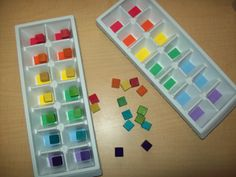 Ice cube trays and colored blocks