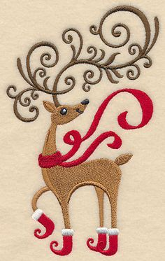 REINDEER FROLIC UNIQUE NEW EMBROIDERED SET 2 BATHROOM HAND TOWEL BY LAURA