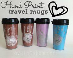 Hand Print Travel Mugs